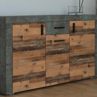 Asko Komoda Pico, tmavý beton/vintage optika dřeva