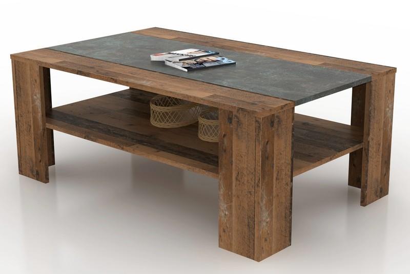 Asko Konferenční stolek Pico,  tmavý beton/vintage optika dřeva