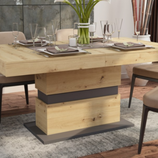 Asko Jídelní stůl Nestor 160x90 cm, dub artisan/grafit, rozkládací