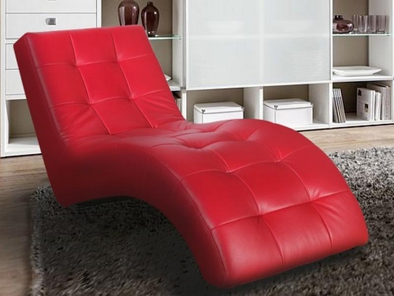 Asko Relaxační lehátko Laguna, červená ekokůže