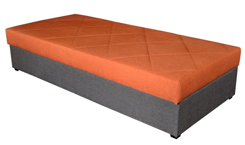 Asko Postel Ormea 88x202 cm, šedá/oranžová látka