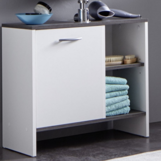 Asko Koupelnová skříňka pod umyvadlo California, bílá/šedý dub, 1 dveře