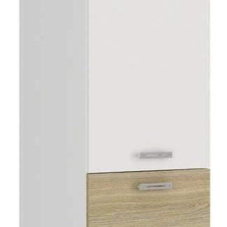 Asko Vysoká kuchyňská skříň Latte 60DK-210, dub latte/bílý lesk, šířka 60 cm