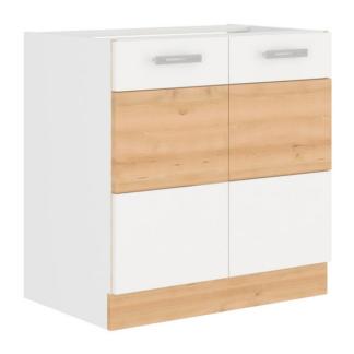 Asko Kuchyňská dřezová skříňka Iconic 80ZL2F, buk iconic/bílý lesk, šířka 80 cm