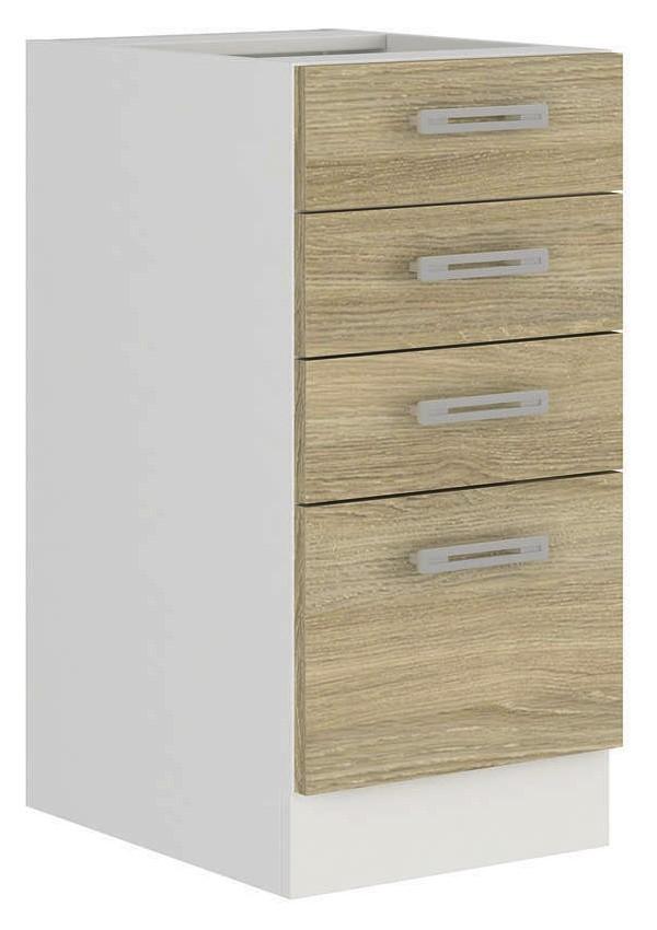 Asko Dolní kuchyňská zásuvková skříňka Latte 40D4S, dub latte/bílá, šířka 40 cm