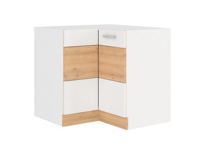 Asko Dolní rohová kuchyňská skříňka Iconic 90/90DN, buk iconic/bílý lesk, šířka 90/90 cm