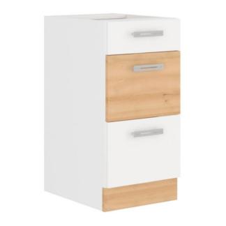 Asko Dolní kuchyňská skříňka Iconic 40D3S, buk iconic/bílý lesk, šířka 40 cm