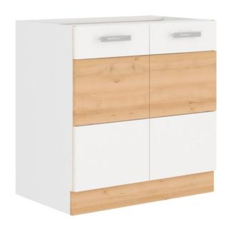Asko Dolní kuchyňská skříňka Iconic 80D2F, buk iconic/bílý lesk, šířka 80 cm