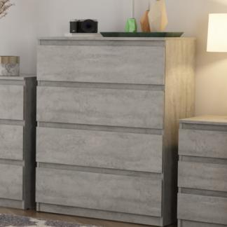 Asko Komoda se 4 zásuvkami Carlos, šedý beton, 75 cm
