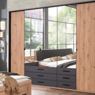 Asko Šatní skříň s otočnými dveřmi Coventry, 225 cm, dub artisan/antracitová ocel