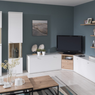 Asko Rohová obývací stěna Laval, bílá/dub artisan