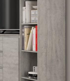 Asko Úzký regál Carlos, šedý beton, 40 cm