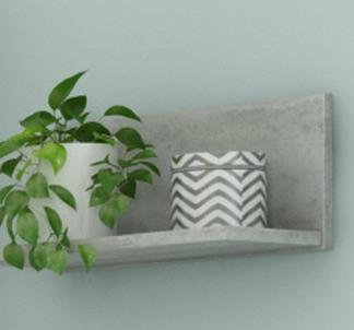 Asko Nástěnná police Carlos, šedý beton, 40 cm