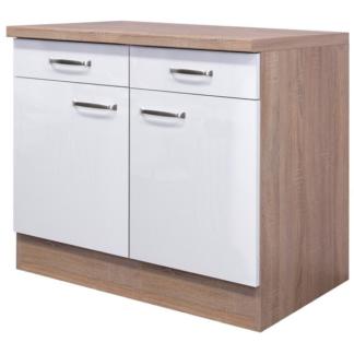 Asko Dolní kuchyňská skříňka Valero US100, dub sonoma/bílý lesk, šířka 100 cm