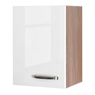 Asko Horní kuchyňská skříňka Valero H40, dub sonoma/bílý lesk, šířka 40 cm