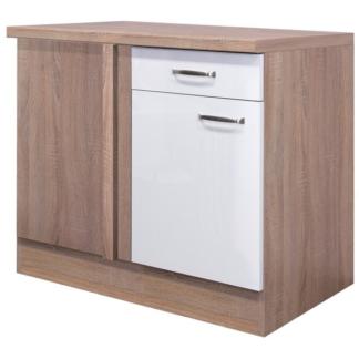 Asko Dolní rohová kuchyňská skříňka Valero UEBE110, dub sonoma/bílý lesk, šířka 110 cm