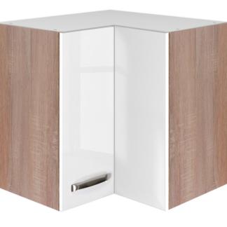 Asko Horní rohová kuchyňská skříňka Valero HE60, dub sonoma/bílý lesk, šířka 60 cm