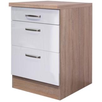 Asko Dolní kuchyňská zásuvková skříňka Valero USA60, dub sonoma/bílý lesk, šířka 60 cm
