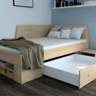 Asko Úložná postel se zástěnou Junior 120x200 cm, dub sonoma