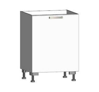 Asko Dolní kuchyňská skříňka One ES60, pravá, bílý lesk, šířka 60 cm
