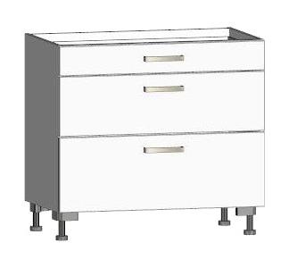 Asko Dolní kuchyňská zásuvková skříňka One ES903Z, bílý lesk, šířka 90 cm