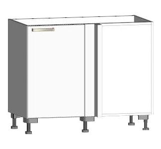 Asko Dolní rohová kuchyňská skříňka One ES99R, levá, bílý lesk, šířka 110 cm