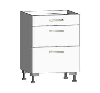 Asko Dolní kuchyňská skříňka se zásuvkami One ES603Z, bílý lesk, šířka 60 cm