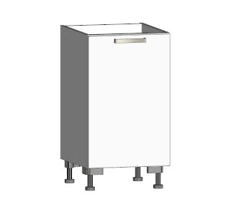 Asko Dolní kuchyňská skříňka One ES45, pravá, bílý lesk, šířka 45 cm