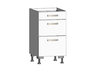 Asko Dolní kuchyňská skříňka se zásuvkami One ES453Z, bílý lesk, šířka 45 cm