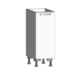 Asko Dolní kuchyňská skříňka One ES30, pravá, bílý lesk, šířka 30 cm