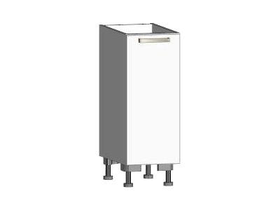 Asko Dolní kuchyňská skříňka One ES30, levá, bílý lesk, šířka 30 cm