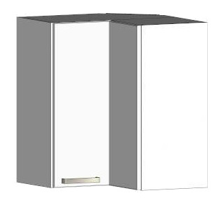 Asko Horní rohová kuchyňská skříňka One EH65RL, bílý lesk, šířka 65 cm