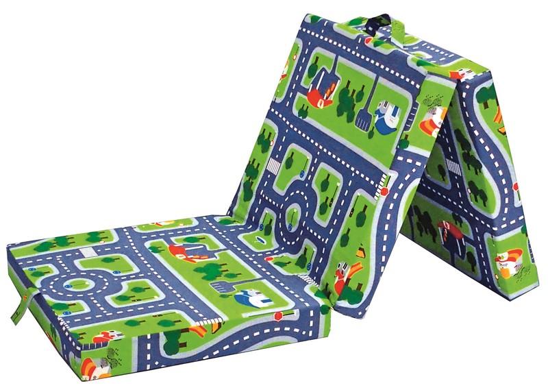 Asko Skládací matrace Samba, zelená s motivem autodráhy