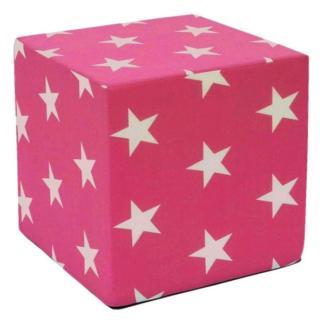 Asko Dětský taburet Hardy, růžová se vzorem hvězd