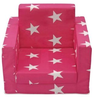 Asko Dětské rozkládací křeslo Luca, růžová se vzorem hvězd